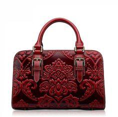 Famous brand top quality Cow Leather women bag  Original vintage handbag Fashion embossed shoulder bag Messenger Bag