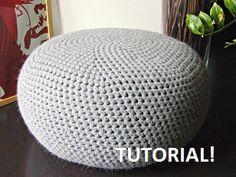 DIY Tutorial XL Large Crochet Pouf Poof, Ottoman, Footstool, Home Decor, Pillow, Bean Bag, Floor cushion (Crochet Pattern)