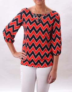 Game Day Shirt!  Orange and Blue Chevron Top | The Tailored Tailgate