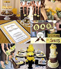 Gul-brunt färgtema på bröllop / Color theme: yellow, brown
