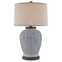 Buy the Currey and Company Antique White and Hiroshi Gray Direct. Shop for the Currey and Company Antique White and Hiroshi Gray Dodington Single Light Wide Accent Lamp with Natural Linen Shade and save. Transitional Table Lamps, Contemporary Table Lamps, White Table Lamp, Light Table, All Of The Lights, Cottage Furniture, Task Lamps, Bedroom Lamps, Light Shades