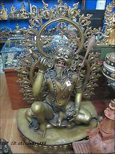 "56""Nepal Rare Buddhism Bronze evil spirits 3 eye Mahakala exorcize demons Buddha"