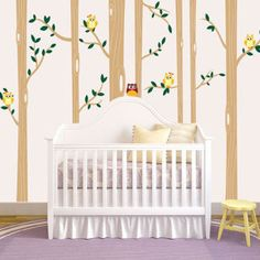 This darling birch tree wall decal features subtle leaves and friendly owls. Apply it on the wall behind the crib or the glider. If your baby quiets down, you might just be able to hear a few hoots!