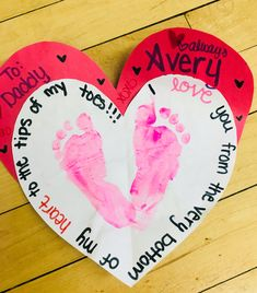 Happy Valentine's Dad! day decorations for classroom Footprint heart Happy Valentine's Dad! day decorations for classroom Footprint heart Toddler Valentine Crafts, Dad Valentine, Fun Valentines Day Ideas, Valentines Day Activities, Valentines Day Decorations, Baby Crafts, Toddler Crafts, Valentine Gifts, Trending Christmas Gifts
