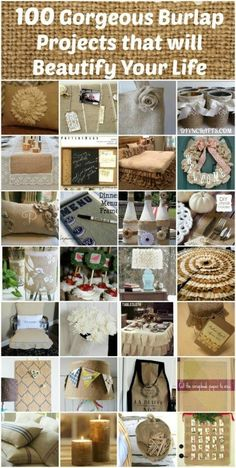 Crafts For The Home 100 Gorgeous Burlap Projects that will Beautify Your Life! You will love these beautiful home decor projects! Burlap is a great way to decorate your home and these burlap diy projects are so easy to do! Burlap Projects, Burlap Crafts, Diy Projects To Try, Decor Crafts, Crafts To Make, Fabric Crafts, Fun Crafts, Craft Projects, Arts And Crafts