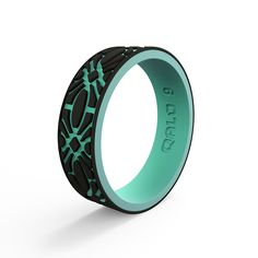 Women's Strata Black and Aqua Flora Silicone Ring