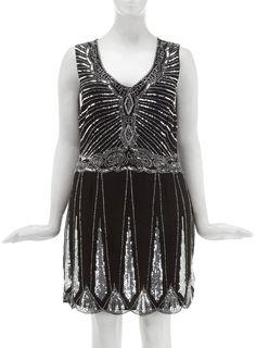 Lovedrobe Black Beaded Flapper Dress