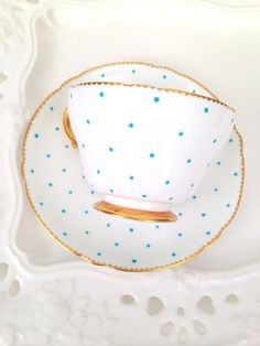 ~ Rare Antique Shelley English Fine Bone China Polka Dots Pattern Henley Shape Footed Teacup and Saucer Tea Party - c. 1940-1966 ...
