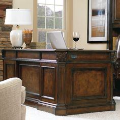 Features: -Hand finished brown color. -Hand-carved solid oak veneer. Desk Type: -Executive desk. Top Finish: -Brown. Base Finish: -Brown. Top Material: -Wood. Base Material: -Wood. Hardware Ma