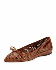 Perforated Leather Ballerina Flat, Cuoio by Prada at Neiman Marcus.