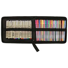 Sakura 39-Piece Micron & Gelly Roll Artist Adult Coloring Book Pen Set with Zippered Canvas Case by US Art Supply