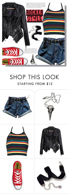 """""""Rock For Life"""" by luna-jancek ❤ liked on Polyvore featuring Pamela Love, Converse, Sweet Romance, rockerchic and rockerstyle"""