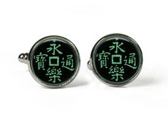 CHINESE WRITING - Glass Picture Cufflinks - Silver Plated (Art Print Photo AH2) by RosettaLondon on Etsy