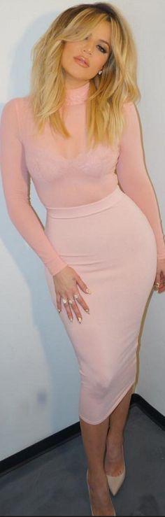 Khloe Kardashian: Shirt and skirt – Love Labels  Shoes – Christian Louboutin