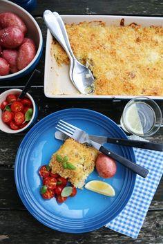 FISKEGRATENG MED PARMESAN OG BASILIKUM | TRINES MATBLOGG Frisk, Parmesan, Cod, Main Dishes, Dinner, Ethnic Recipes, Basil, Main Course Dishes, Dining