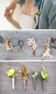 Pin things for the guys. Feather and other items can be used besides flowers. Pretty interesting to think about.