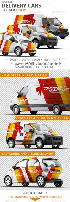 Delivery Cars mock-up. Van, Compact Van, Hatchback. 21 PSD files!