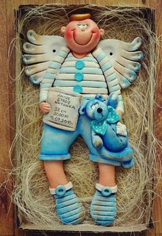 ! Clay Projects, Clay Crafts, Diy And Crafts, Crafts For Kids, Christmas Art, Christmas Decorations, Paper Clay Art, Clay Angel, Salt Dough Crafts