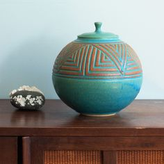 Round Lidded Jar - Turquoise by Janet Williams Pottery, $195