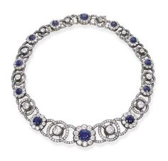 Victorian. Gold, Silver, Sapphire and Diamond Necklace, c1880.