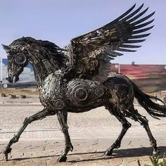 Steampunk Pegasus! Sculpture made of scrap metal by Hasan Novrozi. Ig unknown. #hassannovrozi  Check out & follow @inksav  _____