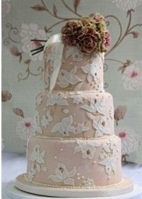"""Vintage Lace"" Wedding Cake by Tartufi Cakes"