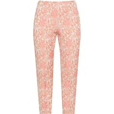 navabi Beige / Pink Plus Size Floral jacquard cigarette pants ($110) ❤ liked on Polyvore featuring pants, bottoms, beige, plus size, plus size pants, summer pants, cigarette pants, red pants and zipper pants