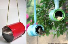 tin can bird feeders Tin Can Crafts, Cute Crafts, Diy And Crafts, Recycle Cans, Reduce Reuse Recycle, Bird Feeder Craft, Bird Feeders, Green Life, Business For Kids