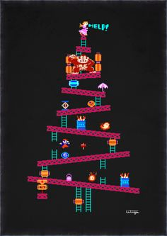 justinrampage:    Merry Donkey Kong Christmas! Just in time for the big day, Carlos Leituga put together a rad DK Christmas Tree level.  It's on like Holiday Kong by Carlos Leituga (Facebook) (Twitter)  Via: it8bit | ronworkman