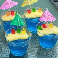future Groundhog Day treat:   Use the Berry Blue Jell-o to fill clear plastic cups. Next, spoon on some vanilla pudding to look like the beach.  Place gummy bears on the beach, resting against the side of the cup.  Put a paper umbrella in the beach to top it off (available at party stores).