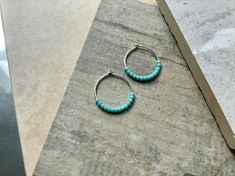 Sterling Silver 18mm Hoop Earrings with tiny Turquoise beads, £9.96 Turquoise Beads, Turquoise Bracelet, Free Gifts, Gift Guide, Hoop Earrings, Personalized Items, Boho, Sterling Silver, Jewelry