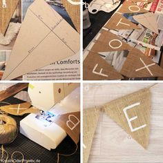 Hochzeit DIY selber machen basteln Ideen günstig billig Deko Dekoration Wimpelkette Nähen Raum Bar Fotobox Geschenktisch Danke Anleitung Jute Stoff