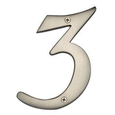 """10"""" Solid Brass House Number 3 - Brushed Nickel"""