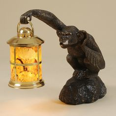 Maitland-Smith Monkey Table Lamp with Penshell Inlaid Lantern Shade - Lighting - Product