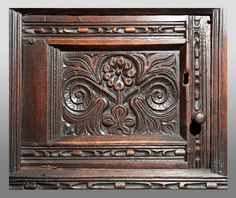 century joined oak press cupboard, north Yorkshire, circa 1640 – Carved with floral … Medieval Furniture, Antique Furniture, Architectural Antiques, Architectural Elements, Medieval Bedroom, Antique Wooden Boxes, Wall Cupboards, Miniature Crafts, Woodcarving