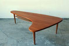 Stunning Mid century Danish Solid Teak RARE Boomerang Coffee Table by Peter Hvidt on Etsy, $2,599.99