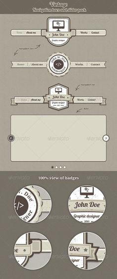 Vintage Navigation Bars and Slider