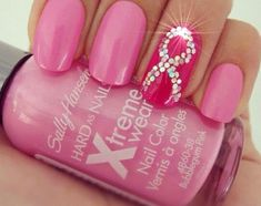 Pink Nail Art For Breast Cancer Awareness