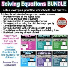 This NO PREP bundle includes 6 of my individual products on solving equations.  All 6 products include notes, examples, practice worksheets and a quiz.  They also include integers, fractions and decimals to continue working on those skills as well.  There are nearly 400 questions total for your students to complete.Included in this Bundle: A pre-test that covers all the topics in this bundle One-step and two-step equations Solving equations by combining like terms Solving equations using…
