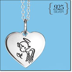 "STERLING SILVER Blessed Guardian Necklace Angel-imprinted pendant, 3/4"" L. Chain, 19"" L."