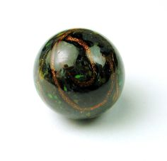 Antique Glass Ball Button Blue Grey w Green Gold Sparkle Ribbon 1880s | eBay