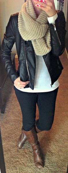Adorable scarf, white shirt, leather jacket, leggings and brown long boots combination for fall