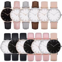 Casual Multi color Unisex Leather Band Stainless Steel Analog Quartz Wrist Watch
