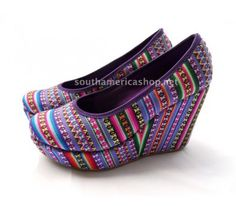Cool and fashion high heel shoes made of peruvian textile (purple) Peruvian footwear. beautiful and fashion shoes! These shoes are made with a nice colorfull peruvian textil called manta. made with a very good shoe platform (heel) that makes it comfortable even if they are high. nice to use with jeans, skirts and shorts.