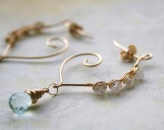 Wire Wrapped Earrings Aquamarine & Rainbow by WrappedbyDesign