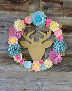 Reindeer Felt Wreath / Felt Wreath / Rustic floral wreath / Antlers wreath / rustic wedding / home decor by soCuties on Etsy