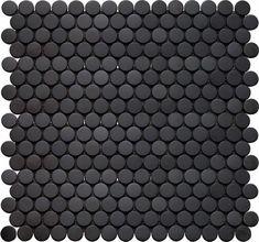 Interceramic Inox Penny Round Glass Mosaic Tile in Black