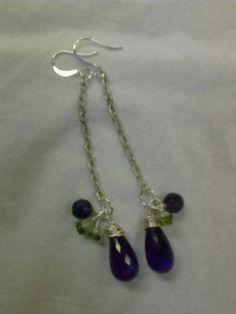 Amethyst and green apatite briolette earrings, genuine stones