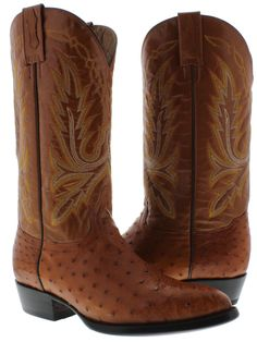 Men's genuine ostrich skin cowboy boots brown quill western rodeo exotic dance