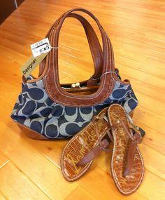 Coach signature denim purse. Sam Edelman sandals, size 8.5!